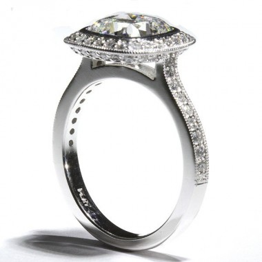 Bezel Set Diamond Halo Milgrain Cathedral Engagement Ring