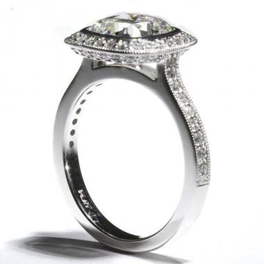 Bezel Set Diamond Halo Milgrain Cathedral Engagement Ring