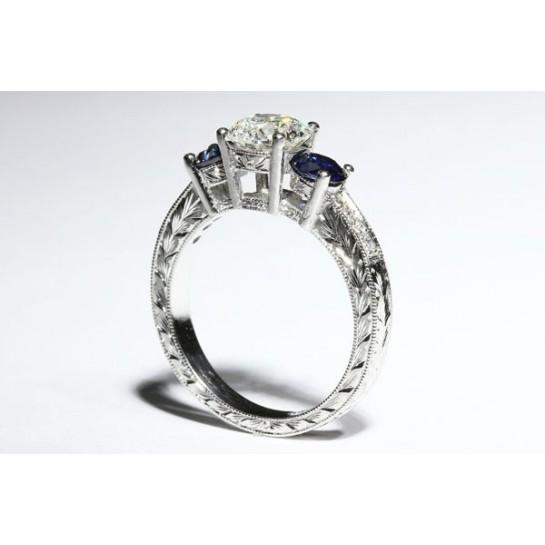 Three Stone Ring Sapphire Side Stones