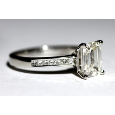 Thin Princess Cut Channel Set Ring