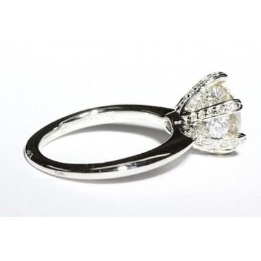Knife Edged Diamond Pronged Engagement Ring