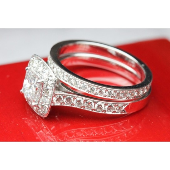 Legacy Diamond Engagement Ring & Matching Diamond Eternity Wedding Banddding Wet