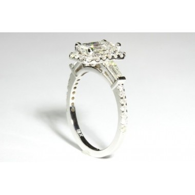 Micro-Pave Halo & Tapered baguette Engagement Ring