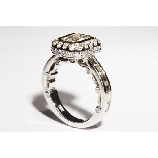 Kobe Mark Double Edged Halo Engagement Ring