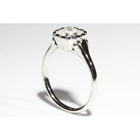Flower Style Engagement Ring & optional Matching Wedding Band Slide