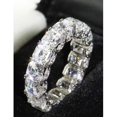 "10.50 CT Platinum Asscher Cut ""U"" Prong Eternity Wedding Band Diamond Encrusted w/ Micro-Pave"
