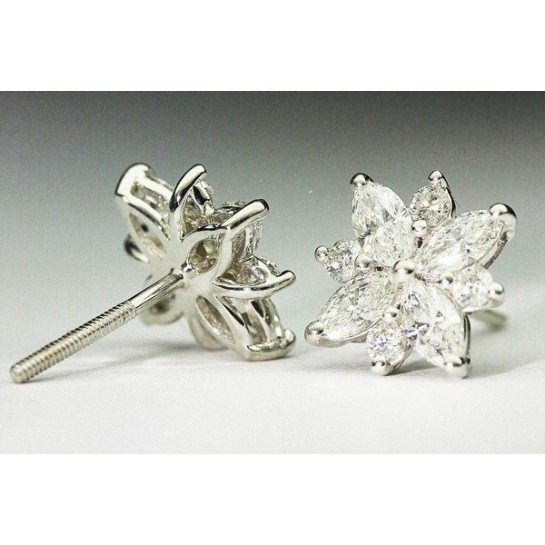 1.50 CTW Platinum Flower Diamond Earrings