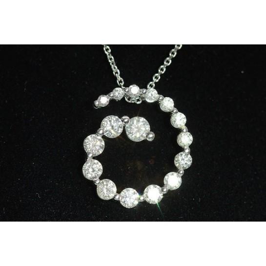 1.40 CTW Diamond Circular Pendant 14K White Gold
