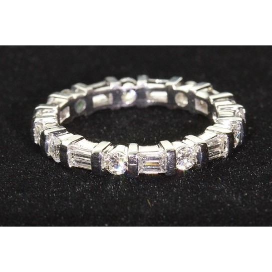 Platinum Round & Baguette Cut Eternity Wedding Band