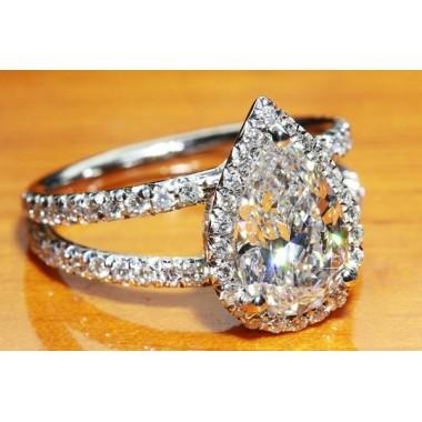 Micro Pave Split Shank Halo Engagement Ring