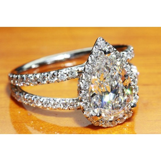 Micro Pave Split Shank Halo Engagement Ring