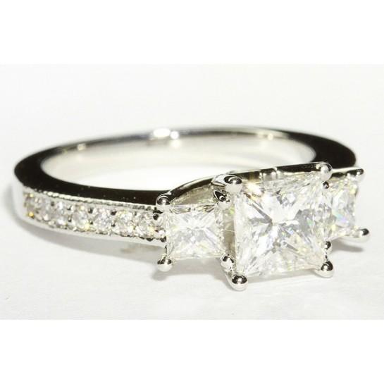 "36381000 Designer ""U"" Shank Three Stone Engagement Ring"