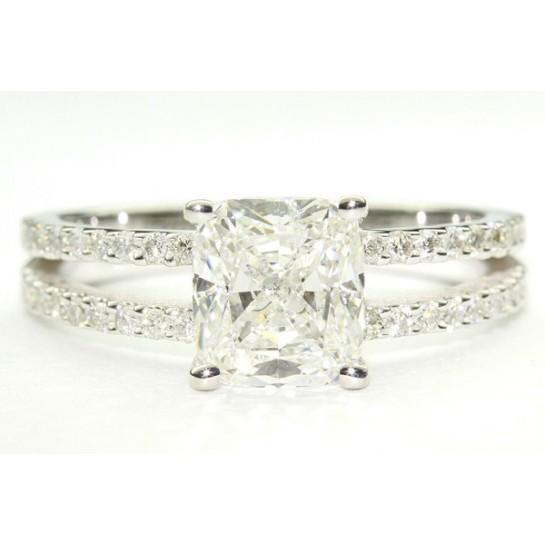 "Split Shank ""U"" Center Diamond Engagement Ring w/ Micro-Pave"