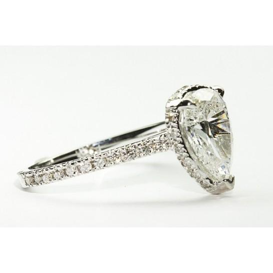 Kobe Mark Micro-Pave Pear Shaped Halo Engagement Ring