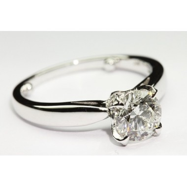 Tulip Prong Pave Solitaire Engagement Ring