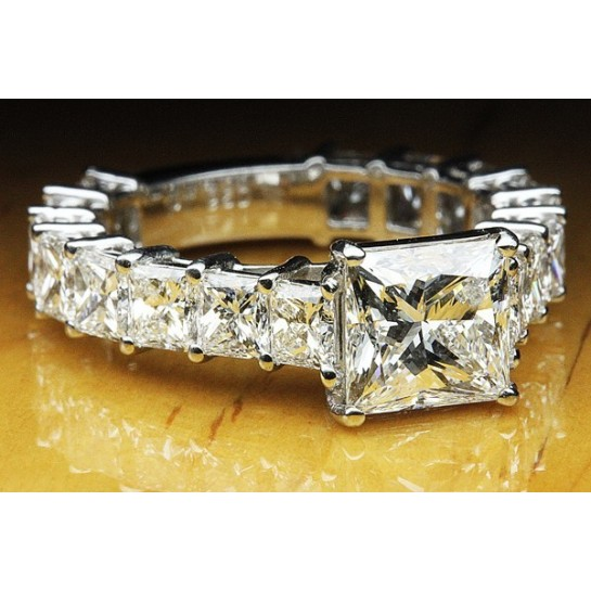 7.50 CTW Princess Cut Engagement Ring