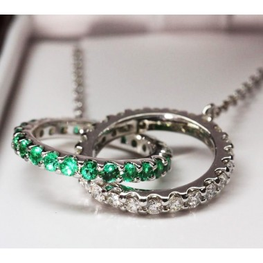 Kobe Mark Diamond & Emerald Intertwined Ring Necklace