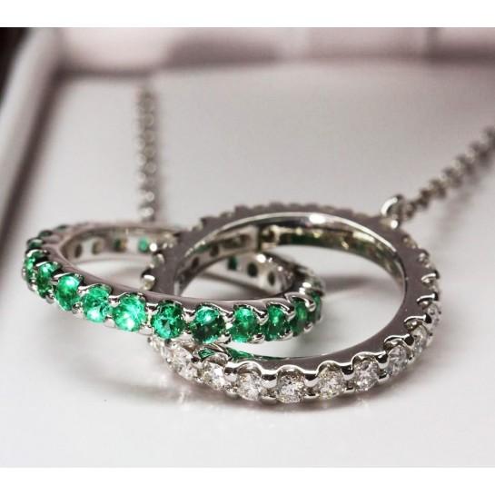 Kobe Mark Diamond & Emerald Intertwined Ring Necklace