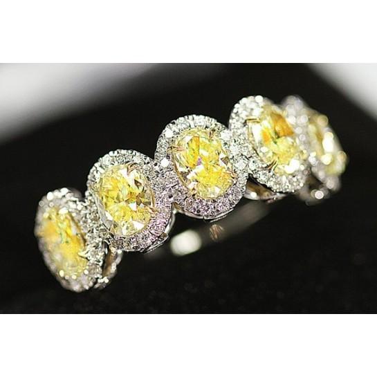 Kobe Mark Oval Shape Canary Yellow Diamond Halo Ring