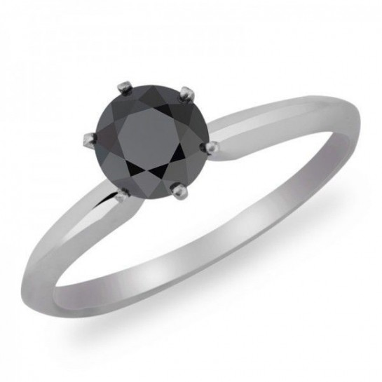 1.00 CT Natural Black Diamond Solitaire