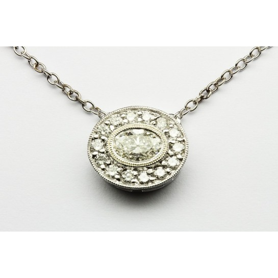 "Oval Diamond Halo Pendant with Milgrain and 16"" Inch Cable Chain"