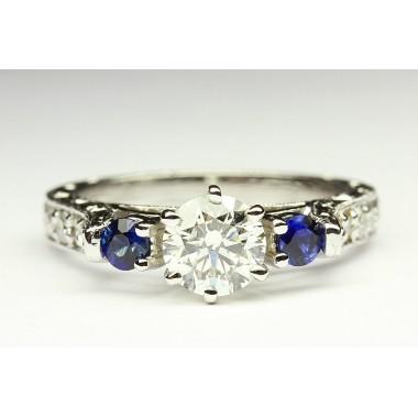 Vintage Pave Blue Sapphire Engagement Ring