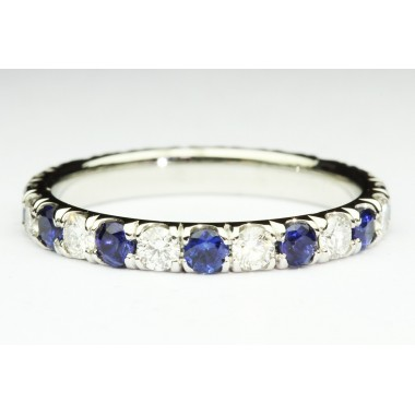 Platinum Diamond & Blue Sapphire Eternity Band