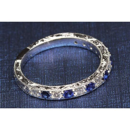 Platinum Diamond & Blue Sapphire with Intricate Carvings