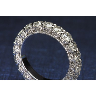 Bead-Work Cage Eternity Round Diamond Wedding Band
