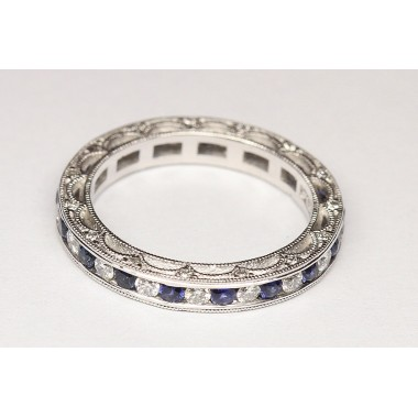 Platinum Scallop Bead-Work Diamond & Sapphire Wedding Band