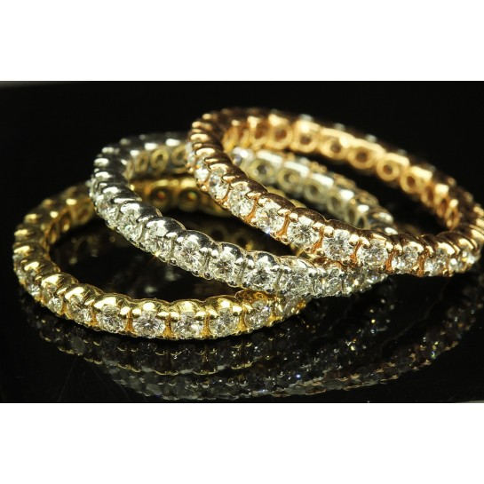 Stack-able Eternity Diamond Rings Rose/White/Yellow Gold 3ctw