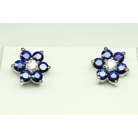 Diamond & Sapphire Cluster Flower Earrings