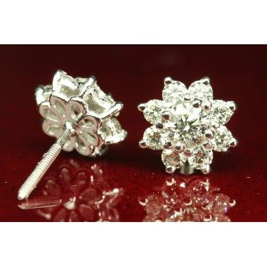 Sunflower Cluster Earrings in Platinum
