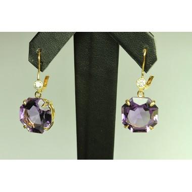 Purple Amethyst Asscher Cut & Diamond Earrings