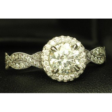 Platinum Infinity Twist Pave Halo Milgrain Engagement Ring