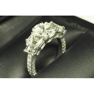 Emerald Cut Side Stone & Micro Pave Milgrain Engagement Ring