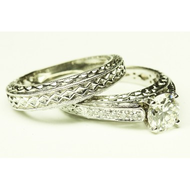 Muti-Carvings Hand Made Diamond Engagement Ring & Wedding Band Set