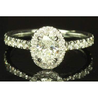 Oval Diamond Micro Pave Halo Thin Engagement Ring