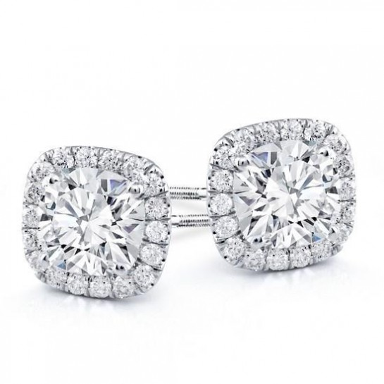 1.50 CTW Diamond Halo stud Earrings 14K White Gold colorless SI Ideal Cut