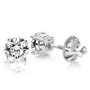 3/4 CTW Diamond stud Earrings 14K White Gold colorless SI Ideal Cut
