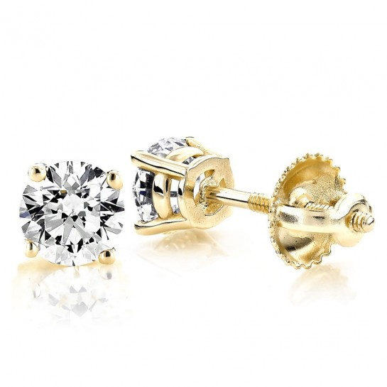 1.00 CTW Diamond stud Screw-back Earrings 14K Yellow Gold colorless SI Ideal Cut