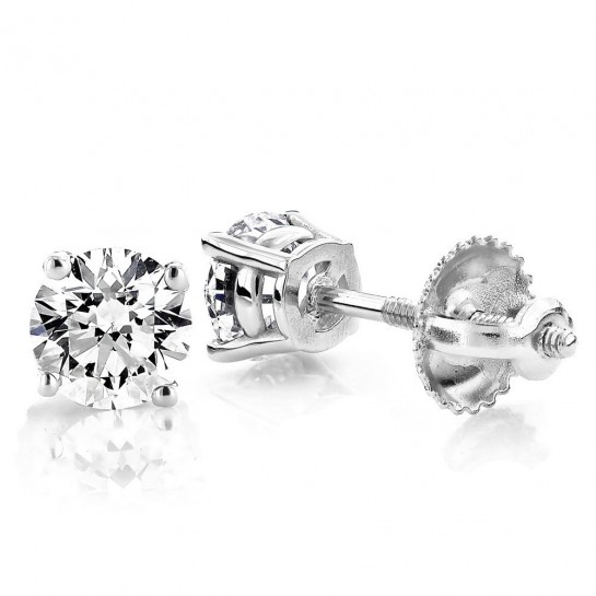 1.00 CTW Diamond stud Screw-back Earrings 14K White Gold colorless SI Ideal Cut