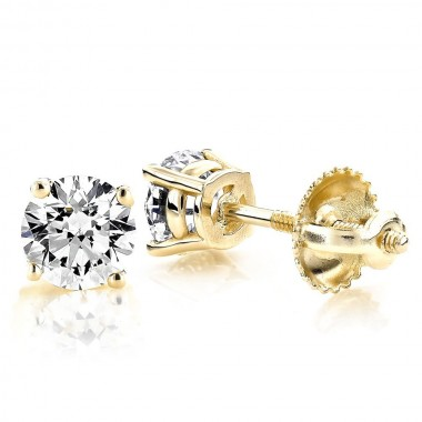 3/4 CTW Diamond stud Earrings solid 14K Yellow Gold colorless SI Ideal Cut Screw-Backs