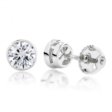 1/2 CTW Diamond Stud Earrings Bezel Set Solid 14K White Gold colorless SI Ideal Cut