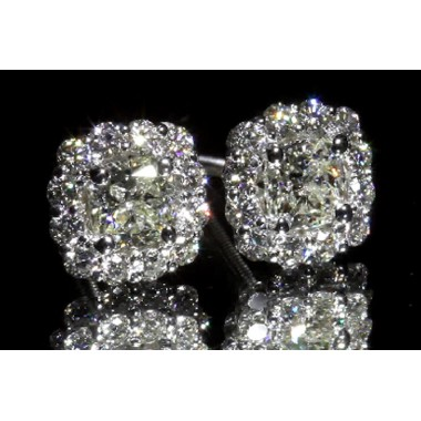 Cushion Cut Halo Diamond Stud Earrings 14K White Gold Screwbacks