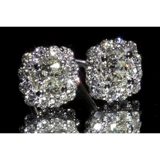 Cushion Cut Halo Diamond Stud Earrings 14K White Gold Screwbacks