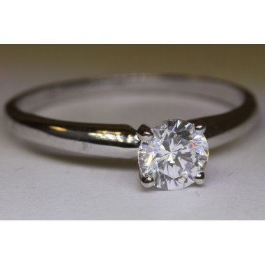 3/4 carat Natural Round Diamond Classic Solitaire Engagement Ring 14K White Gold White Near Colorless SI Ideal Cut Quality