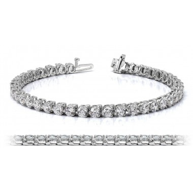 14K White Gold Diamond Tennis Bracelet 6.00 ctw G SI Three Prong