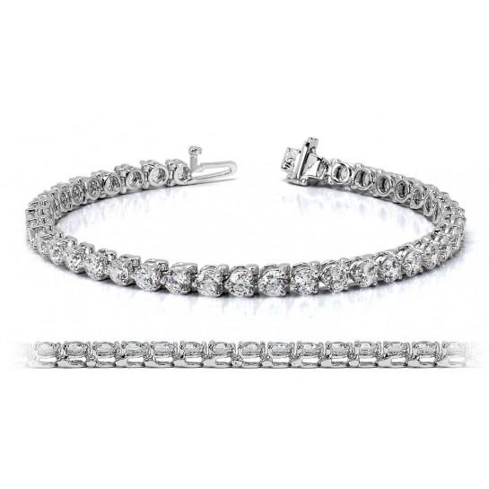 14K White Gold Diamond Tennis Bracelet 6.00 ctw G SI Three Prong