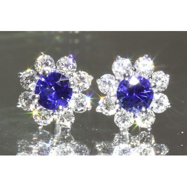 2.25 CTW Royal Blue Sapphire & Diamond Floral Stud Earrings 14K White Gold